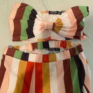Nasty Gal Pants & Jumpsuits - Rainbow striped two piece jumpsuit pants crop set